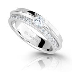 Modesi Třpytivý stříbrný prsten se zirkony M16020 (Obvod 54 mm) stříbro 925/1000