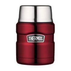 Thermos Style Termoska na jídlo se skládácí lžící a šálkem - červená 470 ml