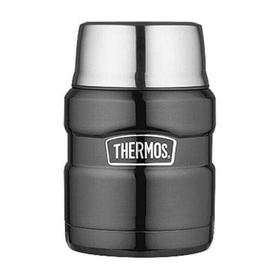 Thermos Styl Termos Żywności z łyżeczką i kubkiem - szary metalik 470 ml