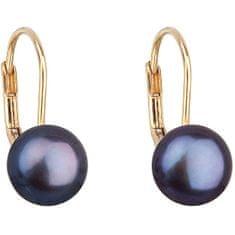 Evolution Group Zlaté visací náušnice s pravými perlami Pavona 921009.3 peacock