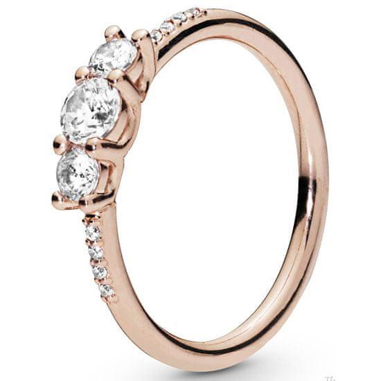 Pandora Brązowy pierścionek z przezroczystym i cyrkonie 186242 CZ