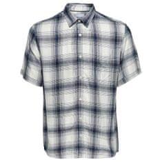 ONLY&SONS Pánska košeľa Samy Ss Reg Viscose Check Shirt Majolica Blue (Veľkosť S)