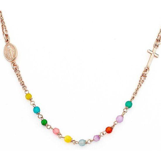 Amen Srebrna ogrlica iz srebrnega zlata z ahatom Rosary CRORM3P srebro 925/1000