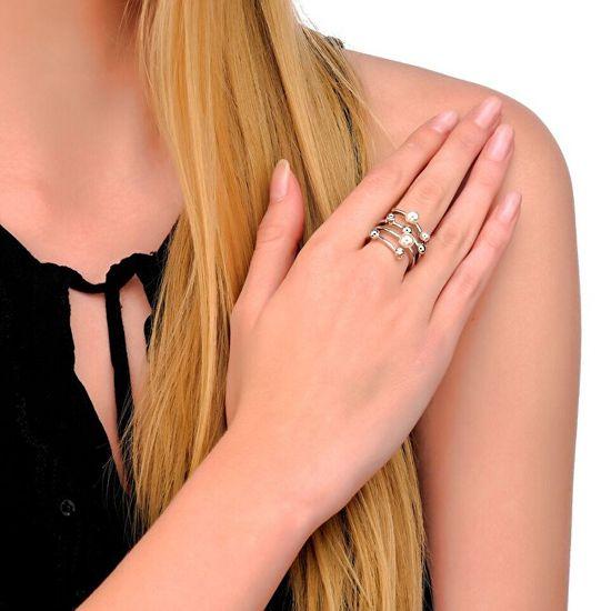 Majorica Spirálový stříbrný prsten s perlami 10554.01.2.913.700.1 stříbro 925/1000
