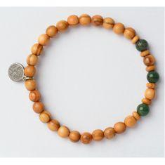 Green Time Bransoletka wykonana z drewnianych koralików i agatu ZWB222E