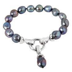 JwL Luxury Pearls Bransoletka wykonana z prawdziwych metalowych pereł w kolorze niebieskim JL0562