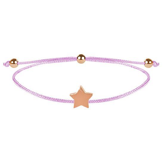 Troli Zapestnica iz vrvice z roza / bronasto zvezdico