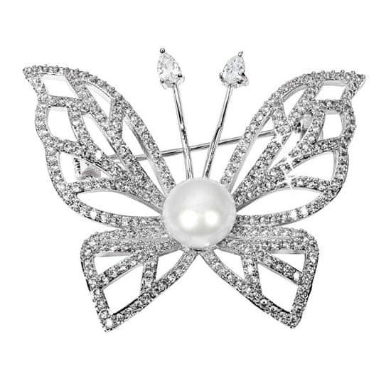 JwL Luxury Pearls Svetleč broški metulj s pravim biserom in kristali JL0507