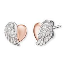 Engelsrufer Stříbrné náušnice Srdce s andělským křídlem a zirkony ERE-LILHEARTWBI
