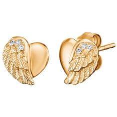 Engelsrufer Pozlacené stříbrné náušnice Srdce s andělským křídlem a zirkony ERE-LILHW-STG