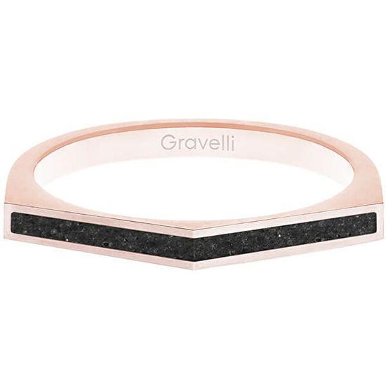 Gravelli Ocelový prsten s betonem Two Side bronzová/antracitová GJRWRGA122