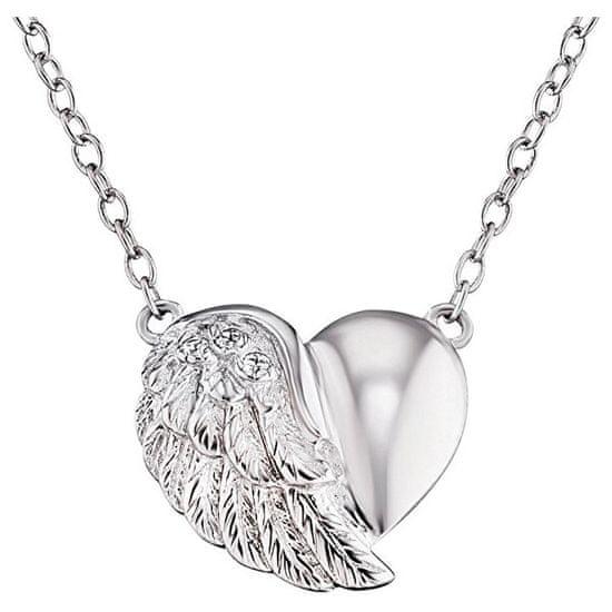 Engelsrufer Stříbrný náhrdelník Srdce s křídlem a zirkony ERN-LILHEARTWIN stříbro 925/1000