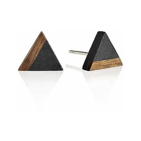 Gravelli Peckové náušnice z betonu a dřeva Triangle Wood GJEWWOA003UN