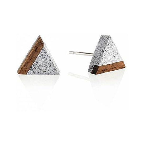 Gravelli Peckové náušnice z betonu a dřeva Triangle Wood GJEWWOG003UN