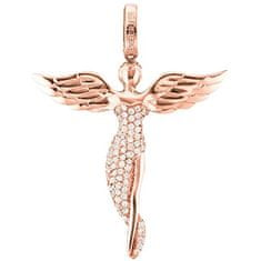 Engelsrufer Růžově zlacený stříbrný přívěsek Anděl se zirkony ERP-ANGEL-R (Délka 2,6 cm) stříbro 925/1000
