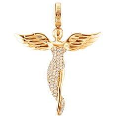 Engelsrufer Pozlacený stříbrný přívěsek Anděl se zirkony ERP-ANGEL-G (Délka 5,2 cm) stříbro 925/1000