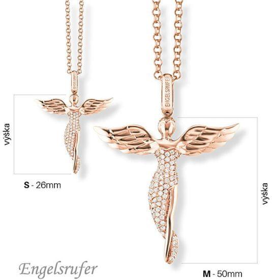 Engelsrufer Růžově zlacený stříbrný přívěsek Anděl se zirkony ERP-ANGEL-R stříbro 925/1000