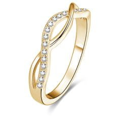 Beneto Pozlacený stříbrný prsten s krystaly AGG192 (Obvod 52 mm) stříbro 925/1000