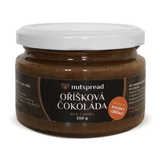 Nutspread Oříšková čokoláda - lískooříškový krém s kešu, kakaem a kousky oříšků Nutspread