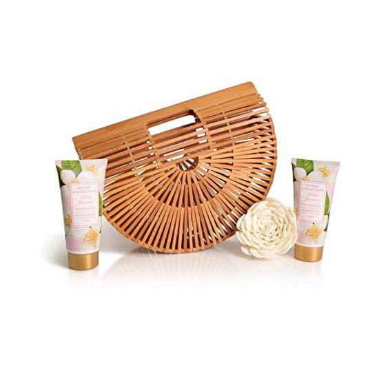 Lady Cotton (White Jasmine Bath Set in bamboo basket) bambusz kosárban