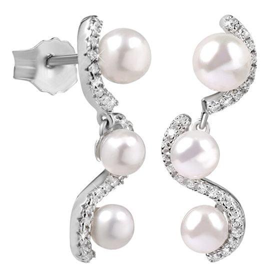 Silver Cat Lenyűgöző ezüst fülbevalók cirkonokkal és gyöngyszemmel 2in1 SC341
