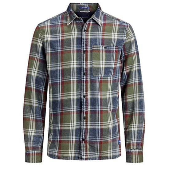 Jack&Jones Moška majica JORHENRI SHIRT LS ORG Forest Night