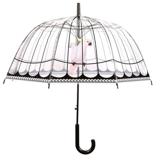 shumee Dežnik Esschert Design s potiskom v ptičje kletke, prozoren