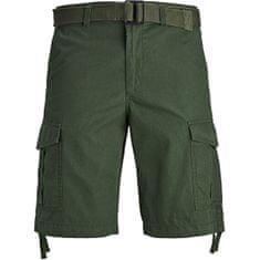 Jack&Jones Moške kratke hlače JJICHARLIE JJCARGO SHORTS AKM 803 Forest Night (Velikost M)