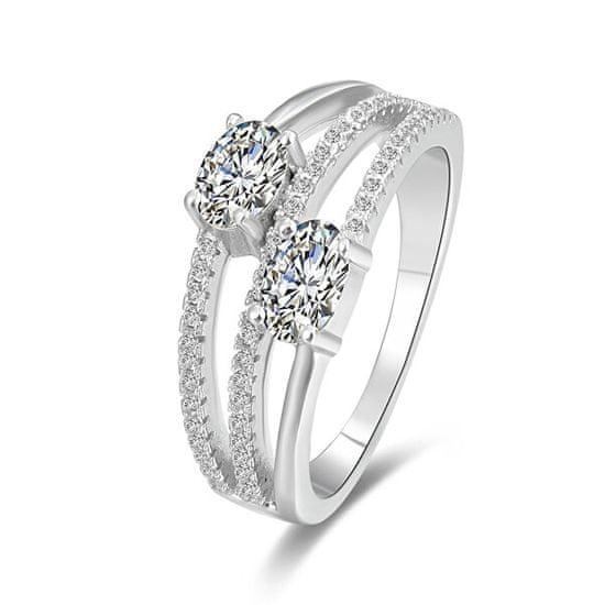 Beneto Stříbrný prsten se zirkony AGG332 stříbro 925/1000