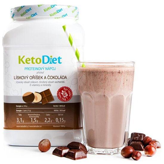 KetoDiet Proteinový nápoj příchuť lískový oříšek a čokoláda 35 porcí