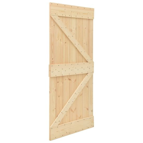 shumee Drsna vrata s kompletom vodil 100x210 cm trdna borovina