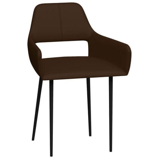 shumee Jedilni stoli 2 kosa rjavo umetno usnje