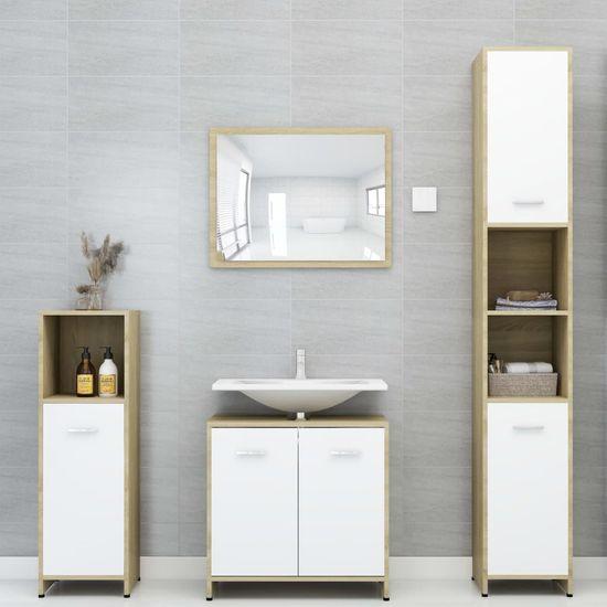 shumee Zestaw mebli łazienkowych, biel i dąb sonoma, płyta wiórowa