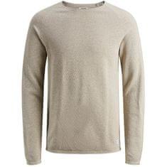 Jack&Jones JJEHILL moški pulover 12157321 Ovsena kaša Melange (Velikost M)