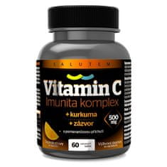 SALUTEM Pharma Vitamin C 500 mg Imunita kurkuma + zázvor tbl.60 s pomerančovou příchutí