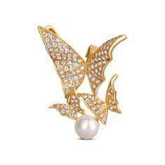 JwL Luxury Pearls Lepa pozlačena broška s pravim biserom 2v1 - metulji JL0630