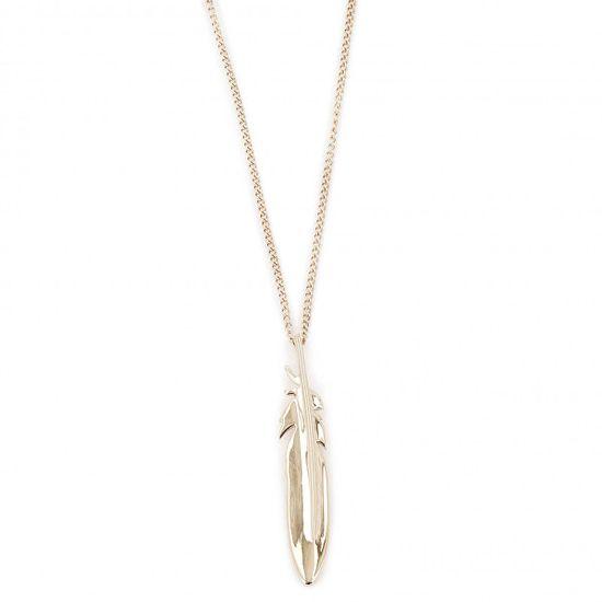 Fossil Pozlacený ocelový náhrdelník s pírkem JF03381710