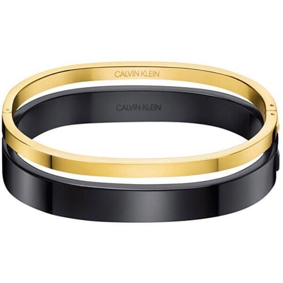 Calvin Klein Luxusné bicolor náramok Hook KJ06BD20010 čierna lesk