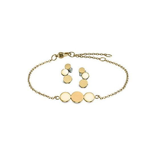 Boccia Titanium Komplet pozlačenega nakita iz titana s popustom (uhani, zapestnica)