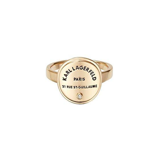 Karl Lagerfeld Stylový pozlacený prsten s výrazným logem 554530