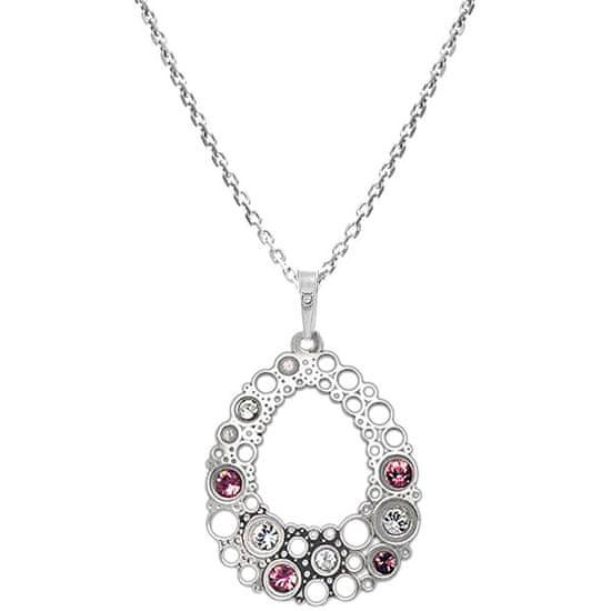 Praqia Elegáns ezüst nyaklánc kristályokkal KO2001_CU035_45_RH (lánc, medál) ezüst 925/1000