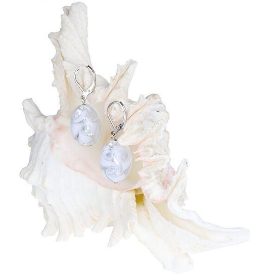 Lampglas Elegáns fülbevaló White Lace Lampglas EP1 gyönggyel, tiszta ezüst