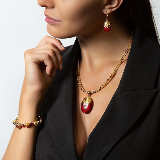 Lampglas Elegáns fülbevaló Red Sea Lampglas gyönggyel, 24K arany EP25
