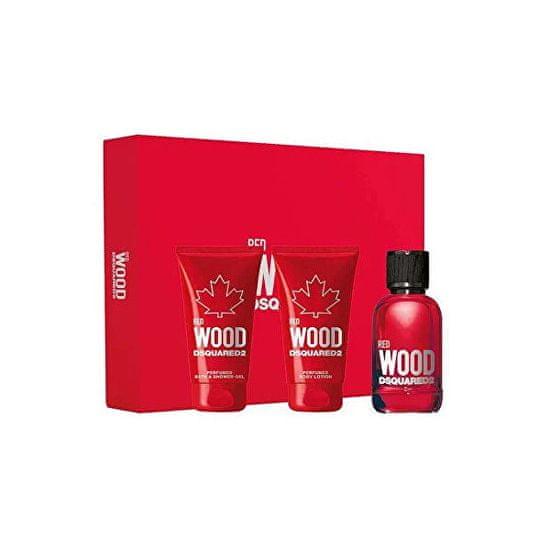 Dsquared² Red Wood - EDT 50 ml + sprchový gel 50 ml + tělové mléko 50 ml