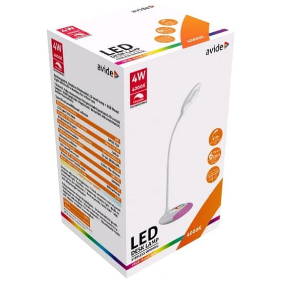 Avide Akumulatorska RGB LED namizna svetilka 4W nevtralno bela 4000K