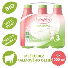 Babybio Croissance 3 tekuté koj.bio mleko 6x 1L EXPIRACE 7/2021