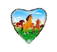"""Anagram Balon foliowy 18"""" Konie - zielone"""