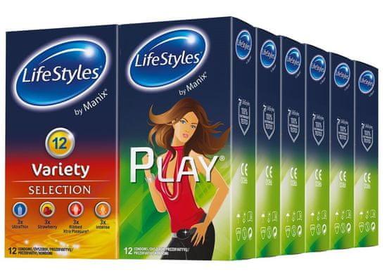 Lifestyles Skyn Variety & Play kondomi, 144 kosov (6 paketov + 6 paketov gratis)