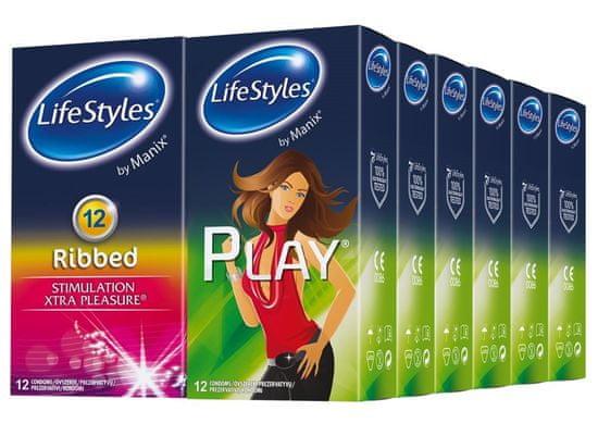 Lifestyles Skyn Ribbed & Play kondomi, 144 kosov (6 paketov + 6 paketov gratis)