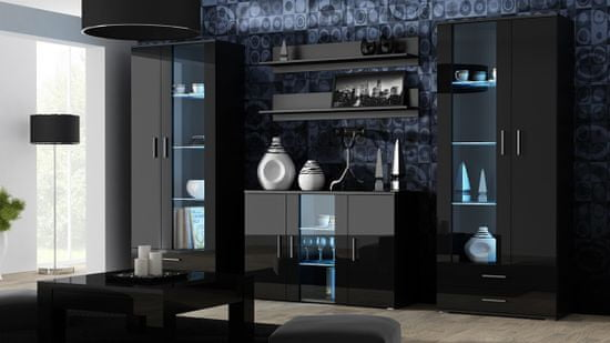 Cama meble Soho 180 tv stolík čierna / čierny lesk